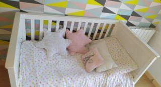 Cuna cama evolutiva con colchon de muelles