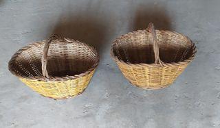 2 cestos de mimbre antiguos