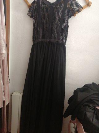 Vestido maxi encaje chiffon negro