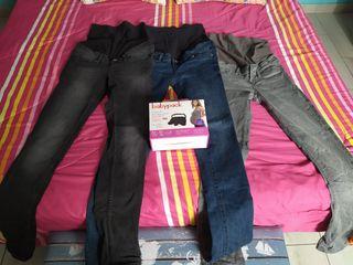 Pantalones y cinturón de seguridad premama