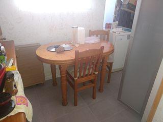 Mesa cocina madera maciza pino + 4 sillas