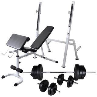 Banco ejercicios con soporte pesas, pesas 60.5kg