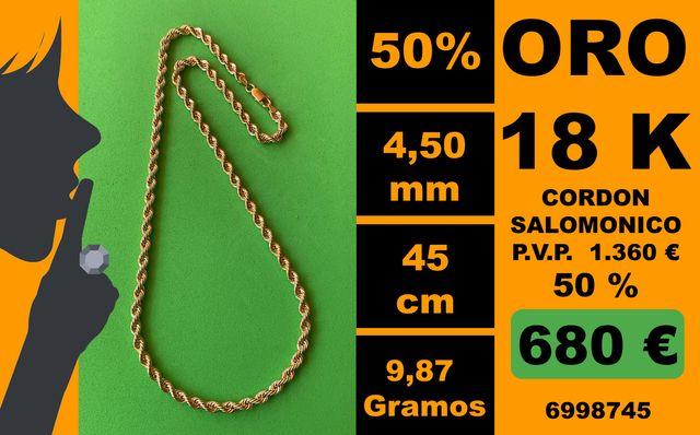 18K Cordon Salomonico 4,50 mm 45 cm Oro 18 Kilates