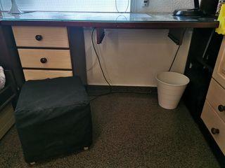 escritorio madera maciza con estanteria y cajonera