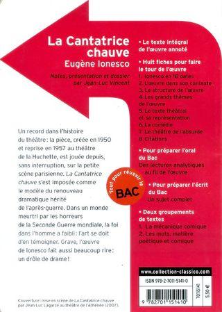 Libro / livre La Cantatrice Chauve -Eugène Ionesco