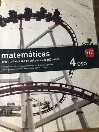 Libro de matemáticas 4 eso .