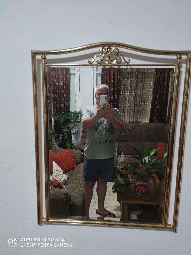 Espejo de Pared y Mesa de doble cristal de Sala o