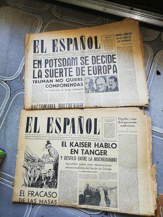 antiguo periódico el español año 1943