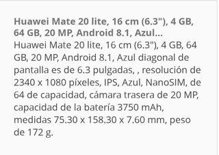 MOVIL HUAWEI MATE 20 LITE.