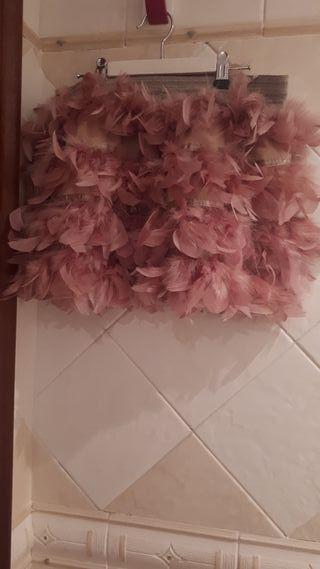 Falda plumas stradivarius
