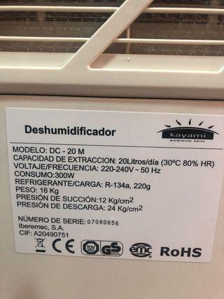 Deshumidificador kayami de 20 l