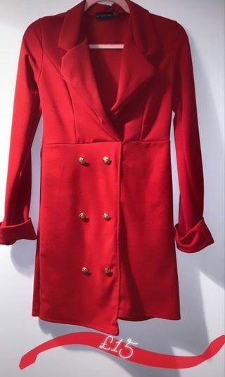 Pretty Little Thing Red Blazer Dress