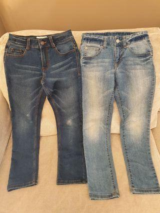 Lote 2 pantalones vaqueros niño (tallas 8-9 años)
