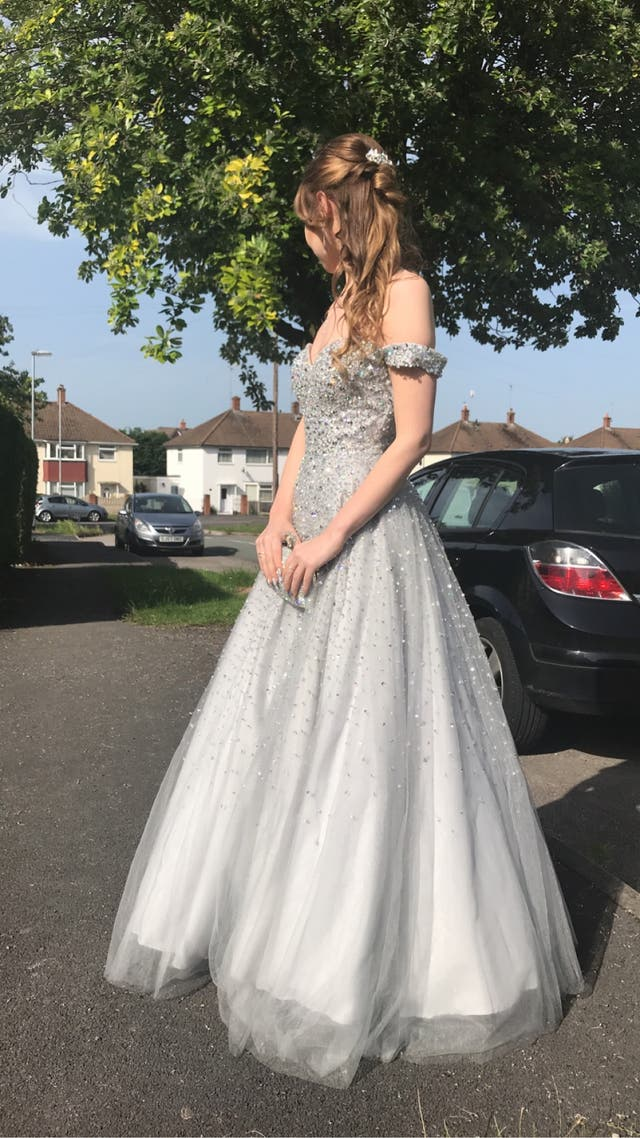 Silver prom dress