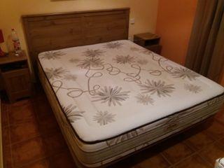 Conjunto colchón y base tapizada
