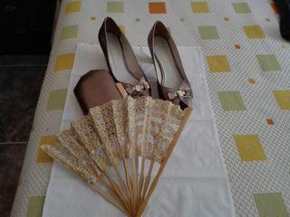 Abanico para boda madera y encaje