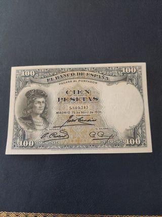billete 100 pesetas 1931 variante color