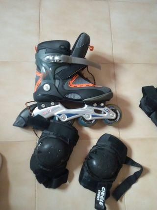 patinetes casi sin uso ,talla -39-40-41 Con protec