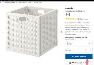 Caja cesta mimbre blanca ikea