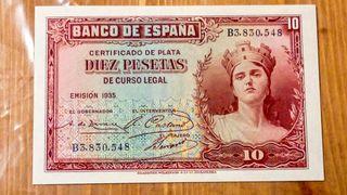 Billete 10 pesetas del año 1935.