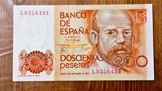 Billete de 200 pesetas 1980.