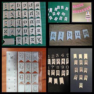 conjunto banderolas letras y números troqueles