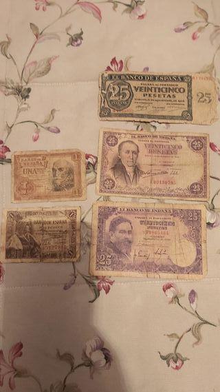 lote 5 billetes pesetas
