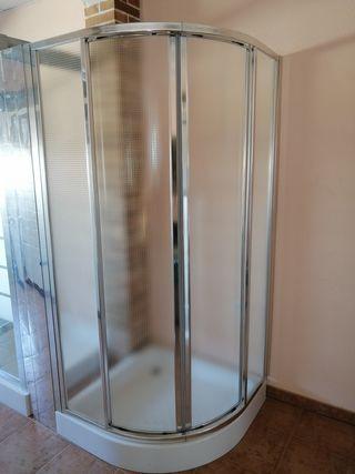 Mampara ducha plata con vidrio templado