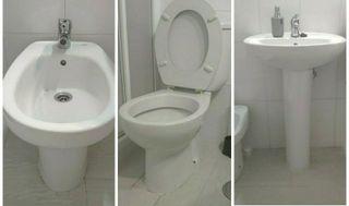 Conjunto lavabo, inodoro WC y bidé