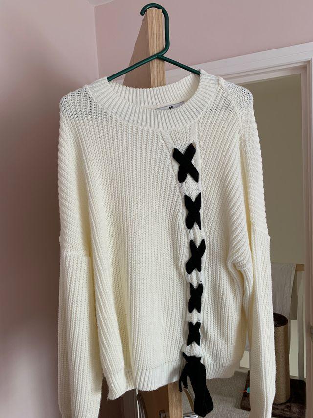 Cream and black cross jumper