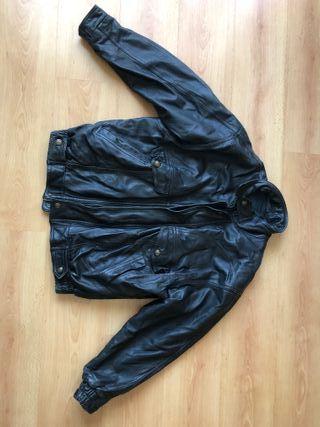 Chaqueta de cuero negro, vintage, XL