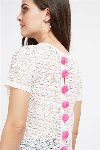 top crochet con pompones. NUEVOS