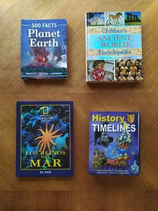 Libros de historia y Biologia en inglés y geografi