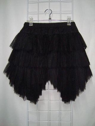 POIZEN Falda Gothic Emo Oso Relleno de Tul Negro