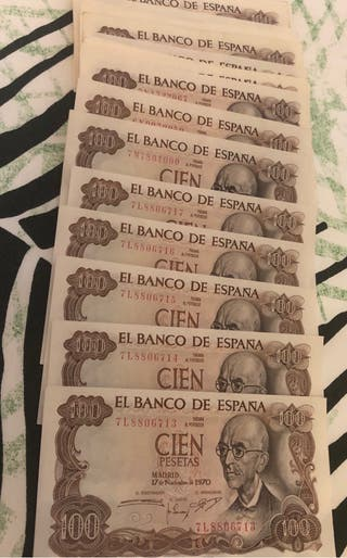 Billetes de 100,200,500,2000,5000 y 10000 pesetas