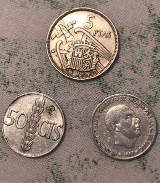 Monedas de peseta y centimos
