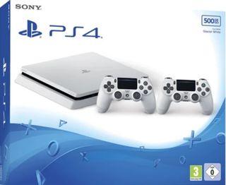 PS4 BLANCA 500GB 2 MANDOS 8 JUEGOS