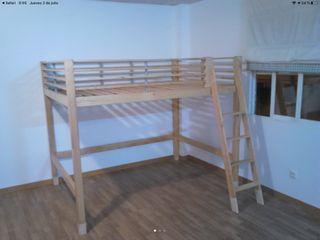 Cama doble alta Ikea modelo Fjelldal