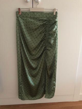 Falda midi satinada Zara T-S