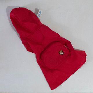 Chubasquero rojo perro con bolsillo