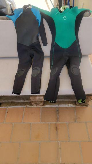 2 TRAJES NEOPRENOS LARGOS SURF OLAIAN para NIÑOS
