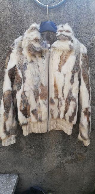 Glamourosa chaqueta de piel de conejo