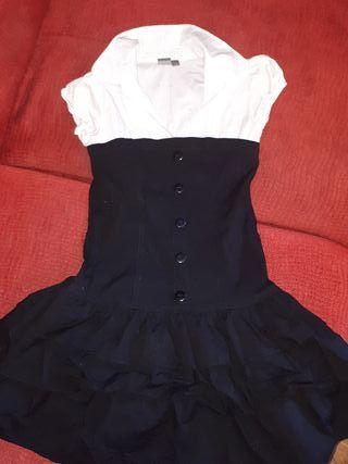 vestido blanco y negro 12 años 152 cm