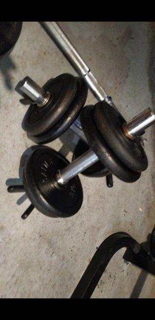 pesas mancuernas discos