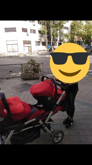 Silla en línea para 2 niños con los accesorios