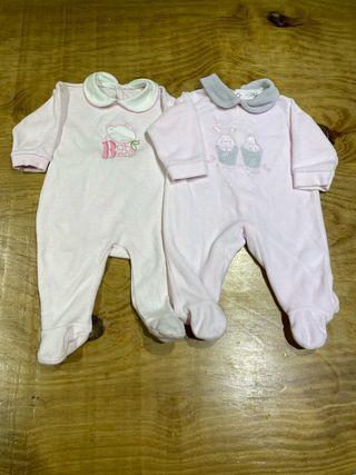 Talla 1 mes Pack 2 pijamas polares bebe niña