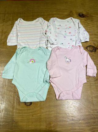 Talla 0-3 meses Pack 4 bodies bebé niña
