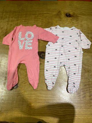 Talla 3 meses Pack 2 pijamas bebé niña