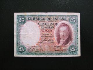 BILLETE DE 25 PTS, AÑO 1931.