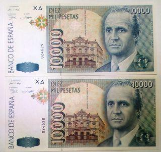 PAREJA BILLETES 10000 PTAS - 12 OCT 1992